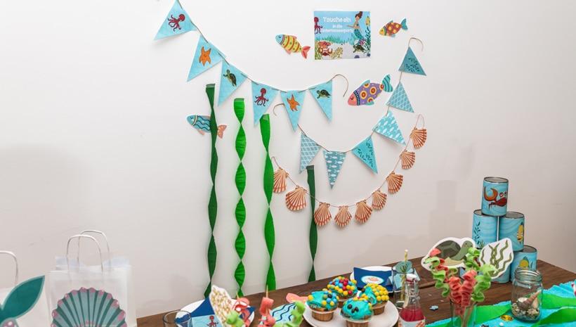Meerjungfrau-Kindergeburtstag-Geburtstagstisch-33