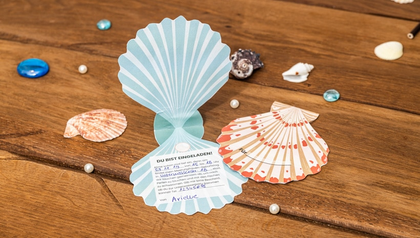 Meerjungfrau-Kindergeburtstag-MuschelEinladung-Schritt-1