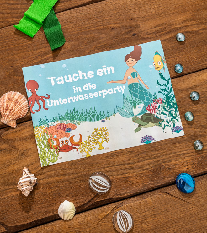 Meerjungfrau-Kindergeburtstag-Willkommensschild-Shop