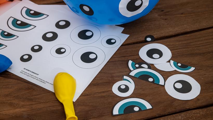 Monster Kindergeburtstag Ballons mit Augen