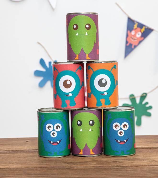 Monster Kindergeburtstag Dosenwerfen Vorlage Shop