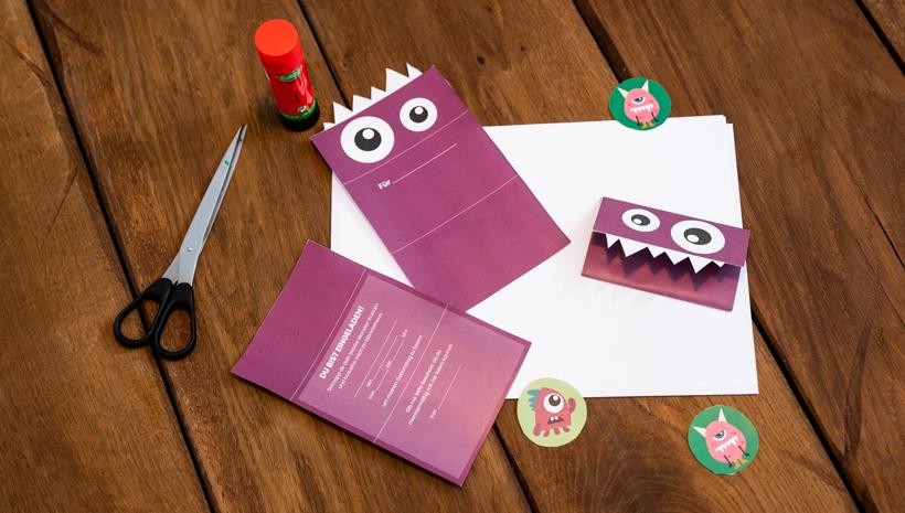Monster Kindergeburtstag Einladung Anleitung zum Drucken