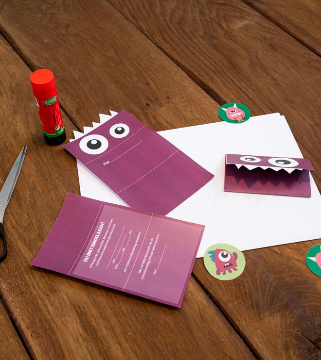 Monster Kindergeburtstag Einladung zum Falten Shop3