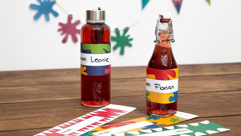 Monster Kindergeburtstag Flaschenbanderole zum Ausdrucken