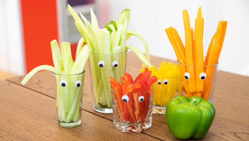 Monster Kindergeburtstag Gemüse Sticks