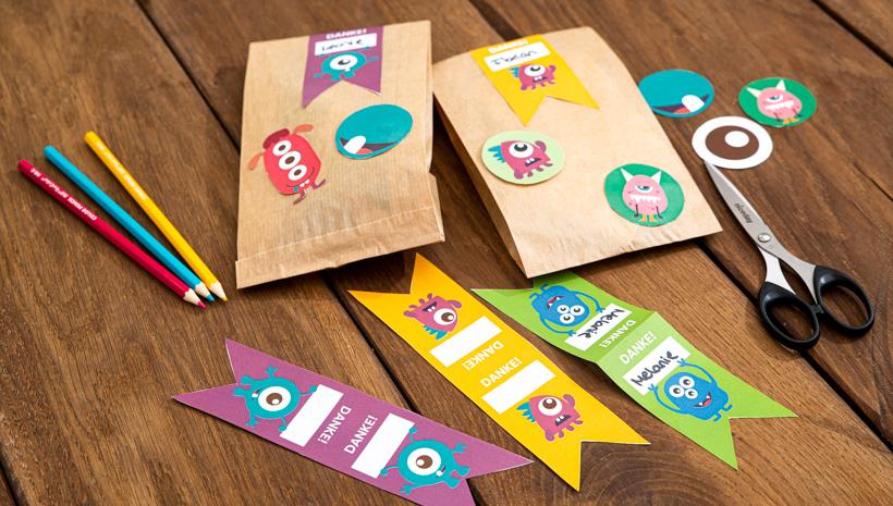 Monster Kindergeburtstag Mitgebseltüten Etiketten zum Basteln