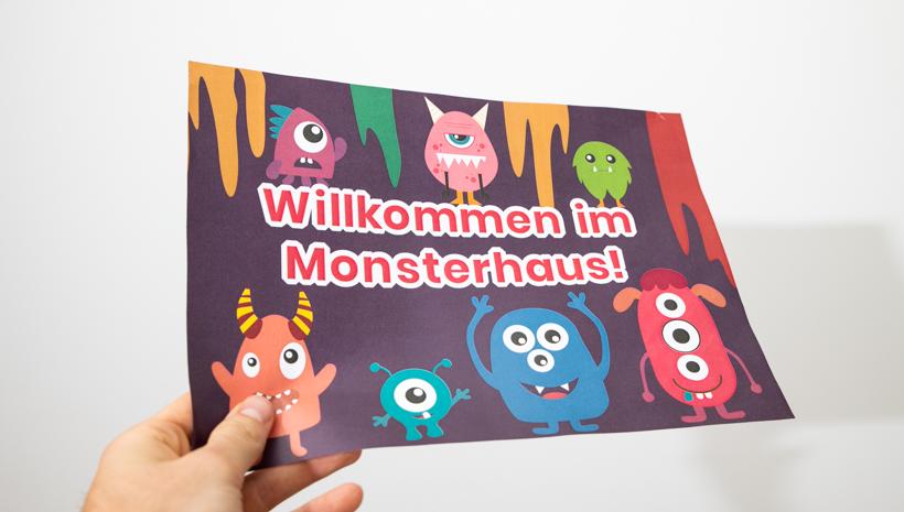 Monster Kindergeburtstag Willkommensschild Mottoparty