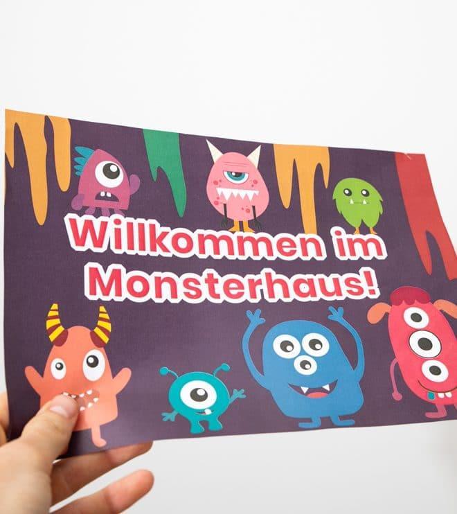 Monster Kindergeburtstag Willkommensschild Vorlage Shop