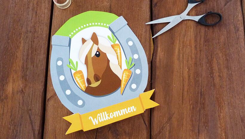 Pferde-Geburtstag-Willkommensschild-basteln