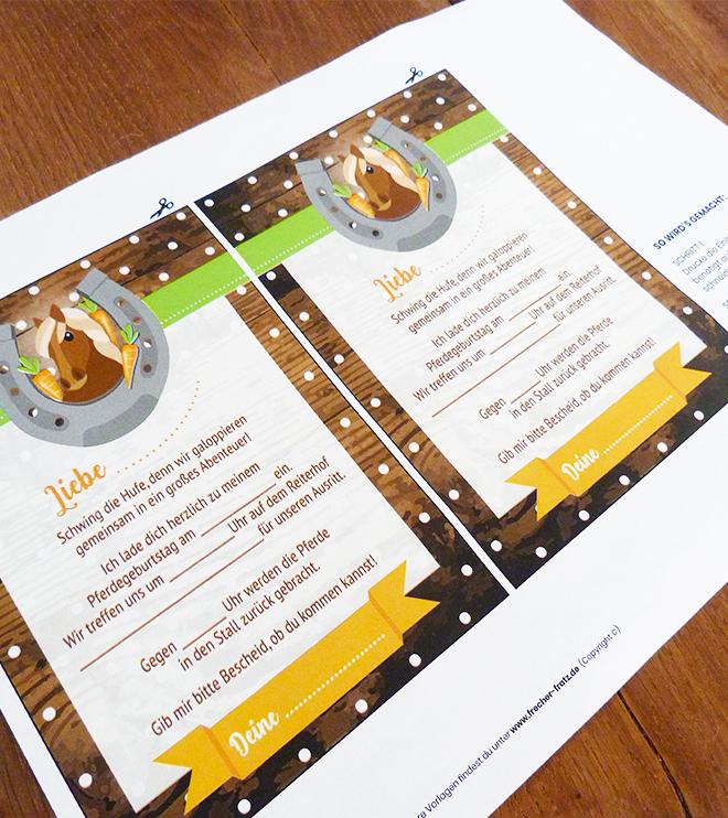 Pferde-Kindergeburtstag-Einladung Pferdepostkarte_Shop02