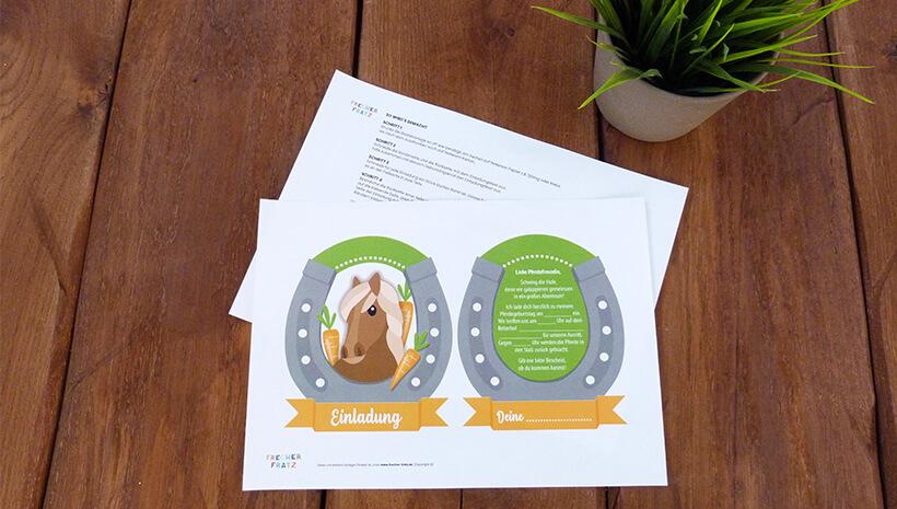Pferde-Kindergeburtstag-Reitabzeichen-Einladung-Set