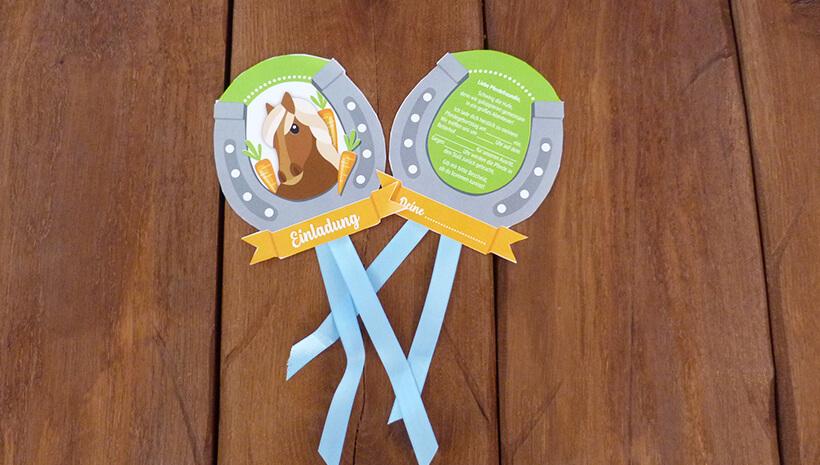 Pferde-Kindergeburtstag-Reitabzeichen-Einladung