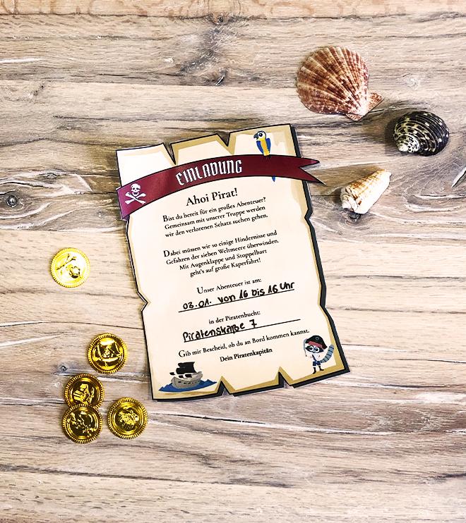 Piraten-Kindergeburtstag-Schatzkarte-Einladung