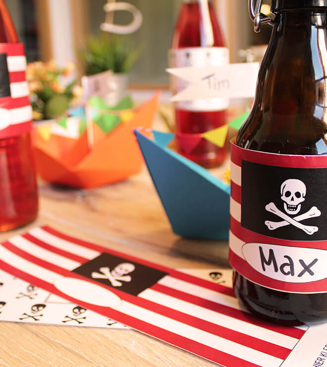 Piraten Kindergeburtstag Flaschenbanderole Vorlage