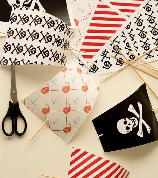 Piraten Kindergeburtstag Piratensegel Bastelvorlage