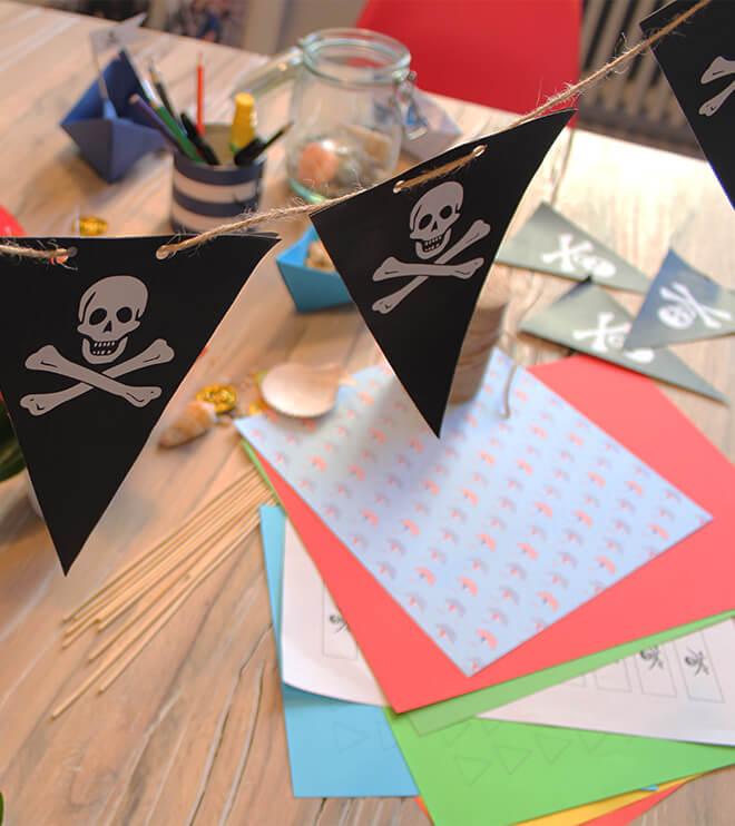 Piratengeburtstag Girlande Wimpelkette Vorlage Totenkopf