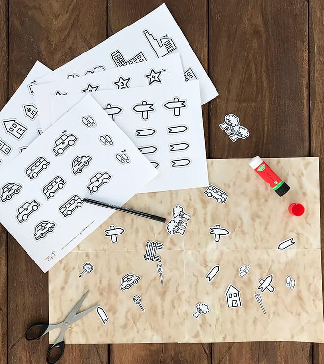 Schatzsuche-Schatzkarte-Symbole-aufkleben