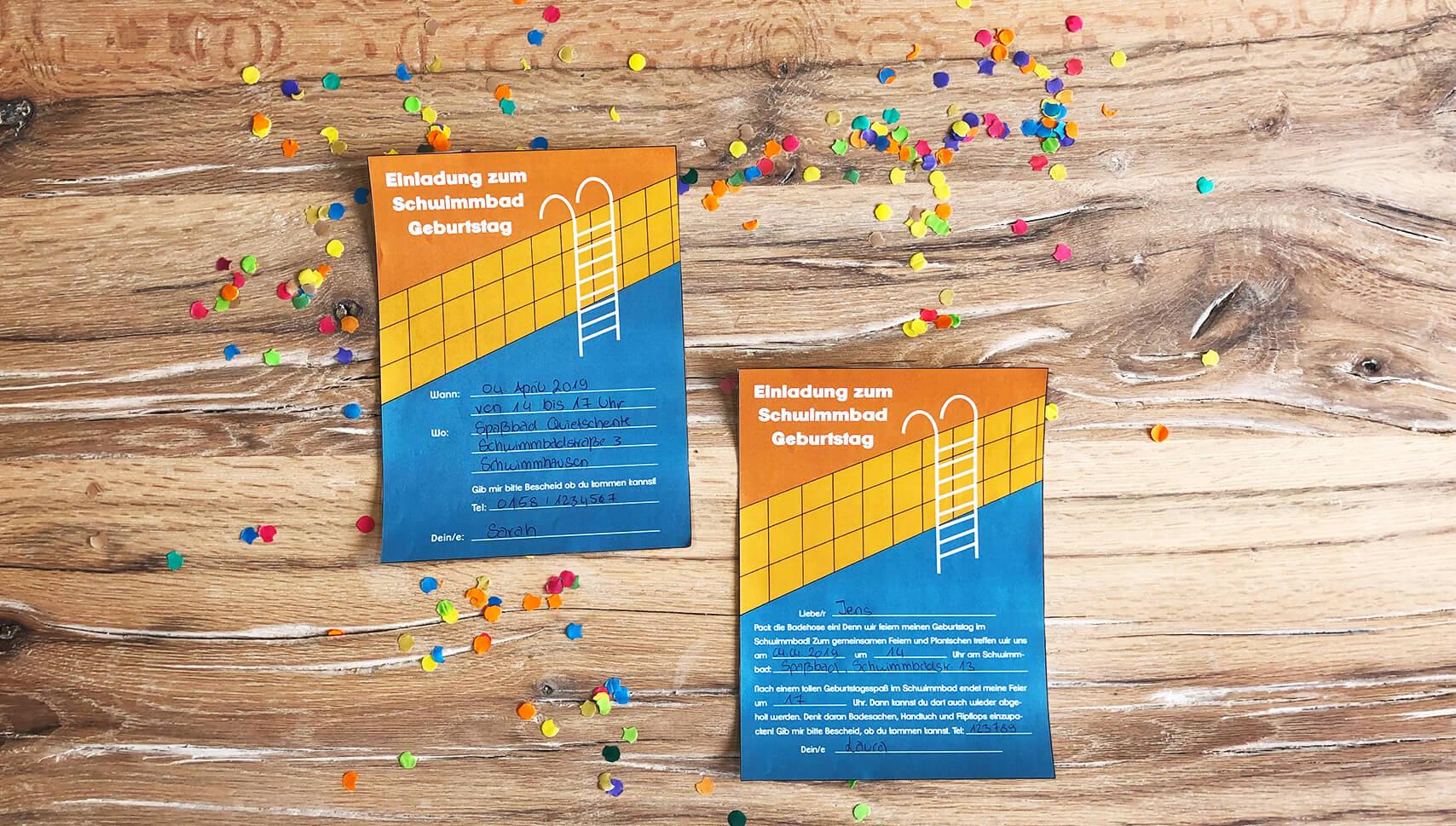 Schwimmbad-Kindergeburtstag-Einladung