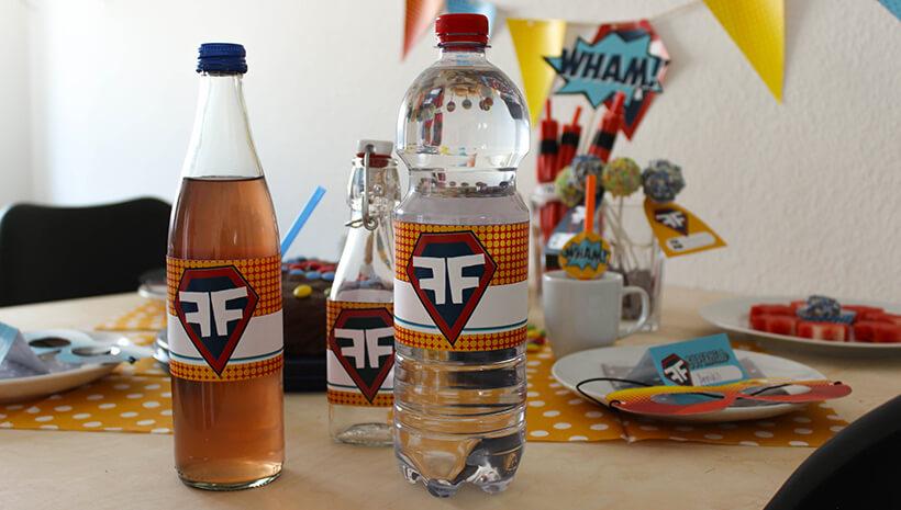 Superhelden-Kindergeburtstag-Flaschenbanderolen