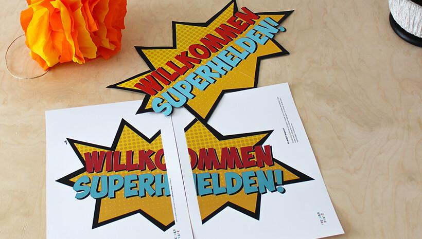 Superhelden-Kindergeburtstag-Wilkommens-Schild