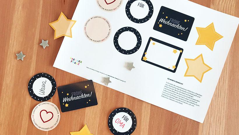 Weihnachts-Etiketten-Bastelvorlage