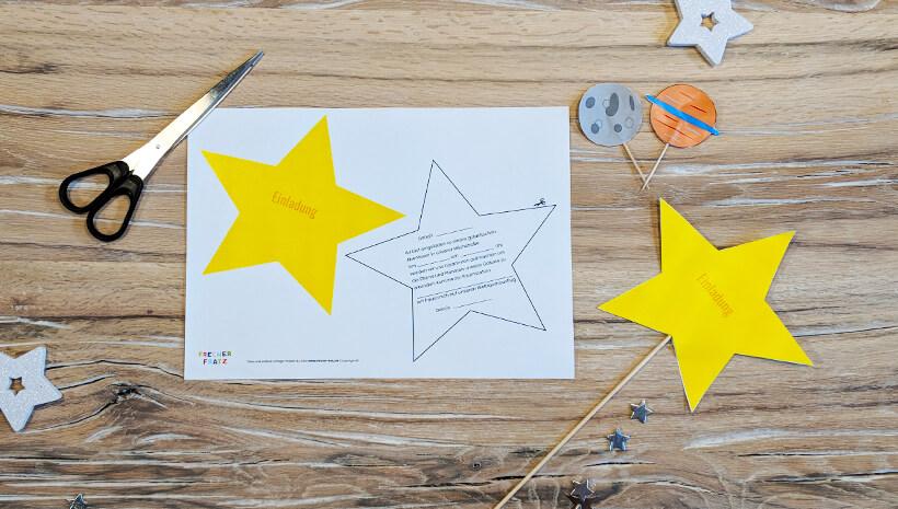Weltraum Geburtstag Einladung Stern