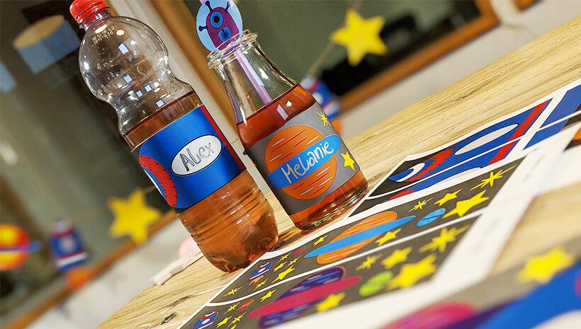 Weltraum Geburtstag Flaschenbanderole