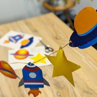 Weltraum Geburtstag Girlande Weltraummotive