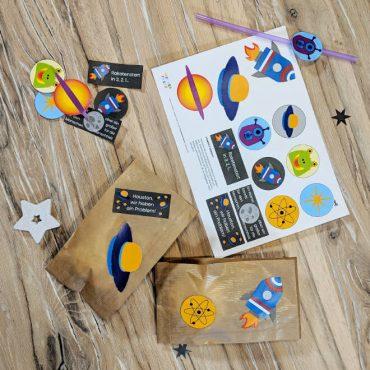 Weltraum Kindergeburtstag Weltraumaufkleber